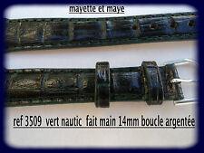 BRACELET MONTRE CUIR  VERT NAUTIC FAIT MAIN BOUCLE ARGENTÉE 14mm ref3509
