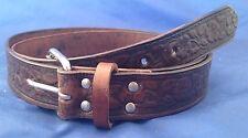 Natural Veg Tan Leather Flower Embossed Belt Choice of Buckle & Colour Handmade