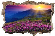 Blumen Meer Gebirge Landschaft Natur Wandtattoo Wandsticker Wandaufkleber D0311