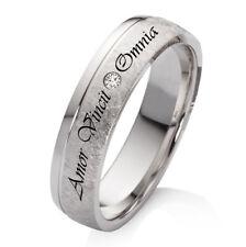 Verlobungsring Trauring Silber mit echtem Diamant und Wunsch Lasergravur EBL43