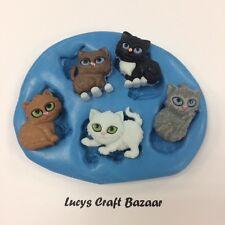 Stampo in silicone Mini Gattini Gatti Cupcake Decorazioni Per Pop DECORAZIONI DI CIOCCOLATO FIMO