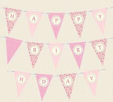 hecho a Mano Guirnalda/Pancarta - Rosa Floral Feliz Cumpleaños - VINTAGE /