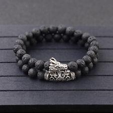 2Pcs Men's Silver 8mm Dragon Head Lava Howlite Stone Prayer Mala Bracelets Set