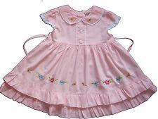 NUEVO de Bebé Niñas Algodón Vestido fiesta en rosa, amarillo, blanco 6-9 TO