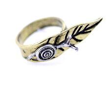Stile antico Vintage argento a chiocciola su foglia bronzo anello, misura UK N
