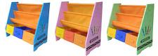 Kiddi Style Wooden Childrens Kids Sling Bookshelf Rack Toy Chests Storage Bins
