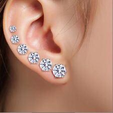 6 Pair/lot Zirconia Earrings Stainless Steel Round Black White Zircon Stud Earri