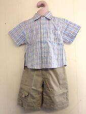 Precioso AZUL PÁLIDO Algodón Camisa y Pantalones de Hamilton edad color beige 2, 3 o 4yrs BNWT