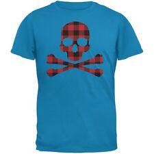 Plaid Skull & Crossbones Sapphire Blue Adult T-Shirt