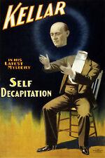 M14 Vintage Kellar 1897 Self Decapitation Magic Magician Poster Re-print A4