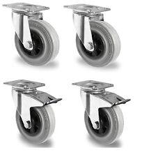 Transportrollen Gummibereifung grau spurfrei 80 100 125 160 180 200mm Rückenloch