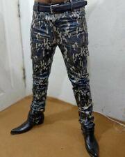 Men`s Leather Biker Pants Jeans camouflage Lederhosen Lederjeans BLUF