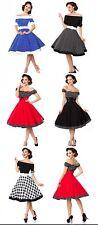 Rockabilly schulterfreies Swing-Kleid Dots 50er Jahre Retro Vintage Off Shoulder