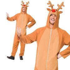 Mens Reindeer Jump Suit Costume Adult Christmas Rudolph Fancy Dress Xmas New