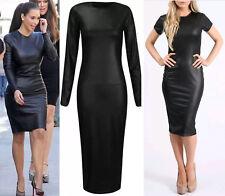 Plus Size Women Pvc Leather Look Bodycon Wet Look Shiney ShortSleeve Midi Dress