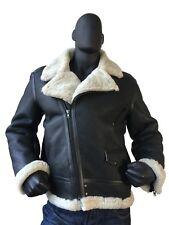 Jakewood Men's Warm Black Sheepskin Shearling Racing Motorcycle Jacket