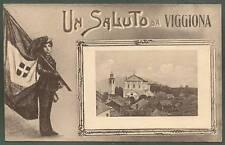VERBANIA TRAREGO VIGGIONA 19  SALUTI da... BERSAGLIERE BANDIERA Cartolina viagg.