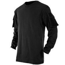 MFH US Longsleeve Shirt Combat Tactique Poches Manches Longues Coton Noir