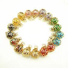 Candy 9 Color Double Sided Crystal Inside Hollow Ball Ear Plug Stud Earrings