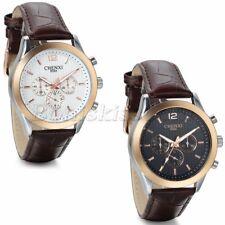 Men Classic Casual Bunisess Decoration Dial Leather Band Quartz Wrist Watch Gift