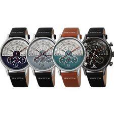 Men's Joshua & Sons JX152 Chronograph Smart Design Multifunction Leather Watch