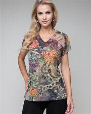 Womens Tee shirt Plus Top Embellished Sublimation Rhinestones Tatoo  L XL 2XL