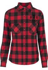 Dragstrip clothing Women's 13 VITE nero/RED Tatuaggio Camicia a Scacchi Boscaiolo