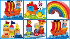 Enfants bébé motricité jouets empilable blocs tiges colorés bois nouveau nouveau