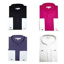 Men's Classy Mandarin Collar hidden button Dress Shirt French Cuff  SG01NF