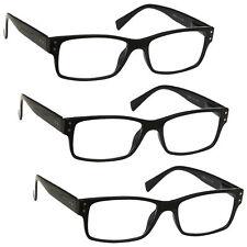 3 Packs Mens Large Designer Style Reading Glasses Spring Hinges UV Reader RRR11