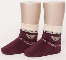 STEIFF® Voll-Frottee Socken Söckchen Norweger-Muster Pflaume Bär 62-104 2016-17!