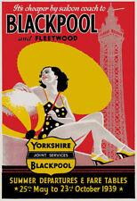 TR54 Vintage 1939 Blackpool & Fleetwood UK Travel Poster Re-Print A4