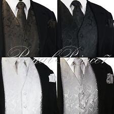 XS to 6XL Paisley Design Tuxedo Suit Dress Vest Waistcoat & Necktie Set Wedding