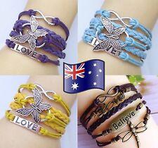 Infinity Butterfly Dragonfly LOVE BELIEVE Bracelet Friendship Inspiration