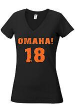 Omaha! Peyton Manning Denver 18 Women/Juniors V-Neck Assorted Colors Sizes S-XL
