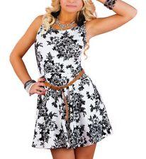 Damen Rockabilly Petticoat Kleid in Weiß Sommerkleid Minikleid Blumen