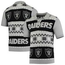 NFL Shirt Oakland Raiders Polo Ugly Sweater Knit Poloshirt Weihnachten
