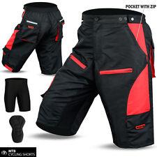 BICICLETTA MTB Short OFF ROAD ciclo Coolmax FODERA IMBOTTITA Pantaloncini Rosso Taglia M, L, XL