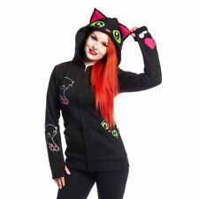 Cupcake Cult Women Black Cat Hood Ladies Goth Emo Punk Hoodie Cosplay Toothless