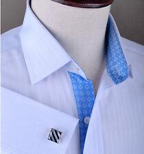Men's Business Dress GQ Shirt Designer Blue Checkered Stripe Diamond Star Luxury