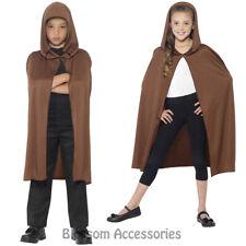 CK781 Hooded Brown Costume Cape Robe Child Boys Girls Bookweek Jedi Fancy Dress