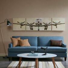 Luxury 3pc Large Striking Airplane Flight Time Gel Coated Wall Art