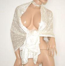 STOLA MAXI BIANCA donna 100% SETA foulard sposa coprispalle scialle elegante E10