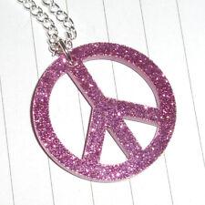 Kitsch 60s Rockabilly Glitter Peace Sign Charm Necklace Kawaii