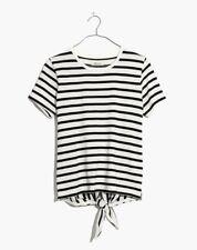 Madewell Women Blouse Striped Tie-back Tee Shirt Black White Top XS S M L XL NWT