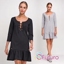 Ladies Mini Tiered Dress Tied Neckline 3/4 Sleeve Size 8 10 12 FA430