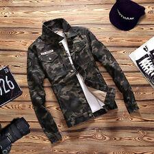 Fashion Men's Casual Stylish Camouflage Jacket Slim Fit Denim Shirt Camo Tops