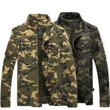UK Men's Coat Camouflage Collar Zip Military Combat Slim Casual Jacket Coat