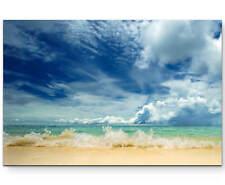 Strand mit Welle als Premium Leinwandbild