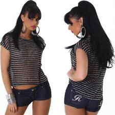 Damen Sommer Shirt Top Vokuhila Streifen Pailletten Glitzer Netz 36 38 S M